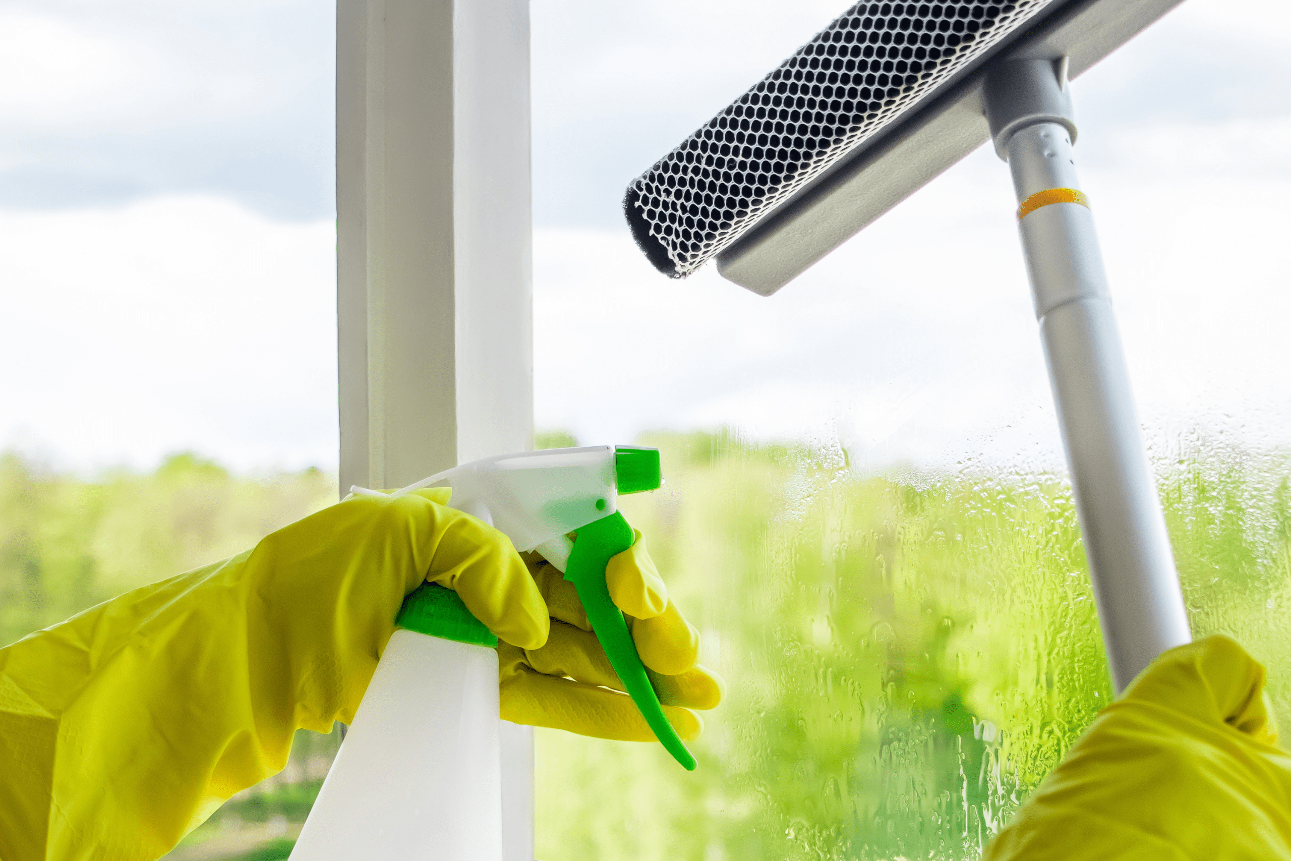 Washing windows. Home cleaning concept. Woman in yellow rubber gloves spray liquid for glasses. Banner format The Clean Life